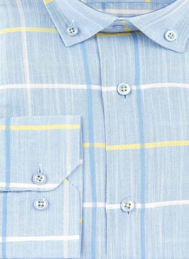 Sementa Erkek Keten Ekose Gömlek - Mavi Mavi